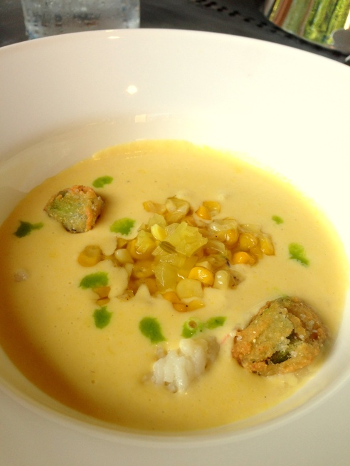 Sweet Corn and Pickled Shrimp Bisque with Okra Croutons